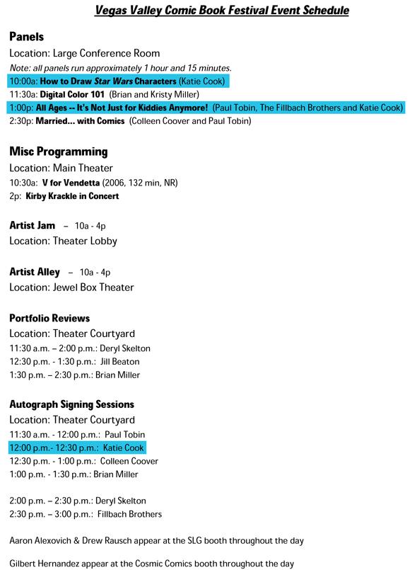 VVCBF Event Schedule